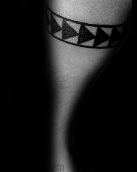 Black Ink Triangles Guys Patterned Band Forearm Tattoo