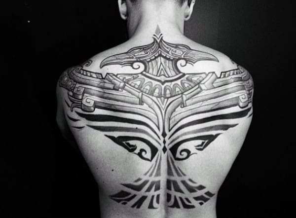 Black Ink Tribal Back Tattoos For Guys