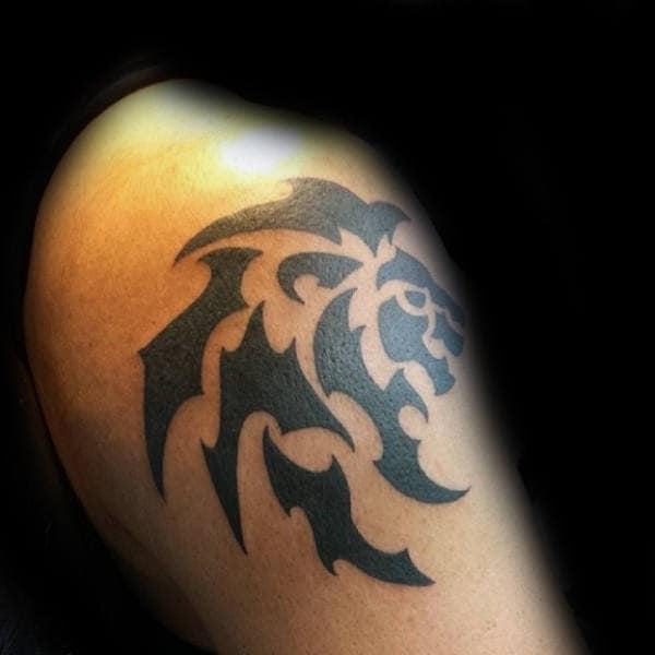 Black Ink Tribal Lion Upper Male Arm Tattoos