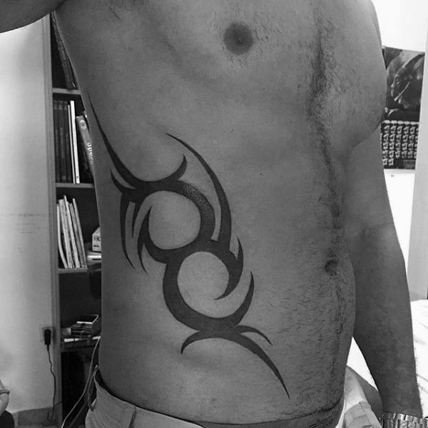 Black Ink Tribal Mens Traditional Ribs Tattoos