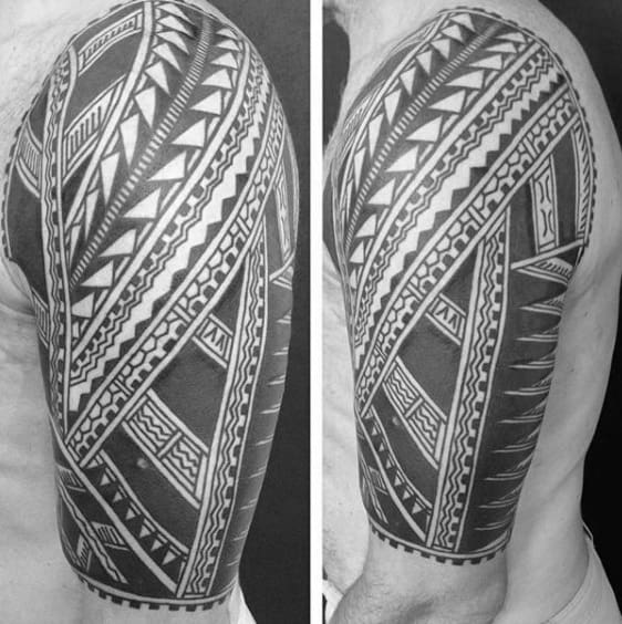 Black Ink Tribal Tattoos Designs For Men Half Sleeve