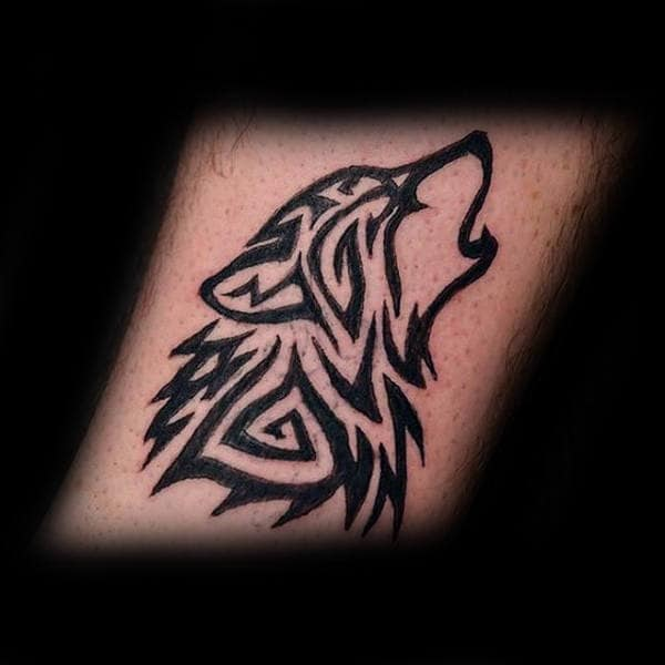 Black Ink Tribal Wolf Male Tattoo Inspiration
