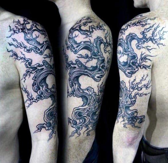 Black Ink Upper Arm Bonsai Tree Male Tattoo Ideas