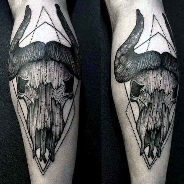 Black Ink Vintage Bull Skull Male Leg Calf Tattoos
