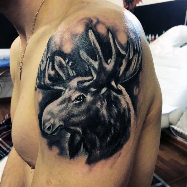 Black Ink Watercolor Antler Upper Arm Guys Tattoos