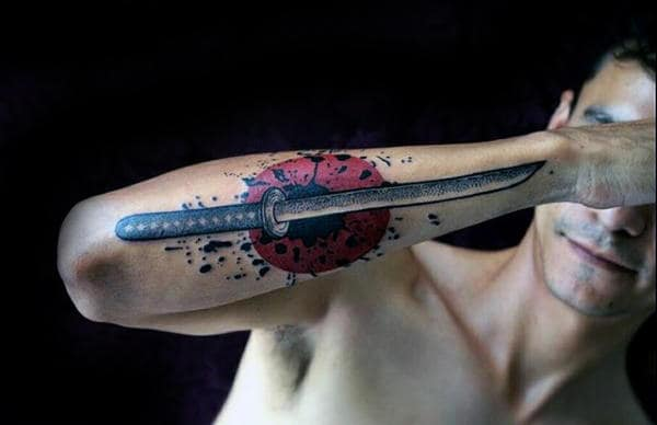 Black Ink Watercolor Paint Splatter With Katana Guys Outer Forearm Tattoo