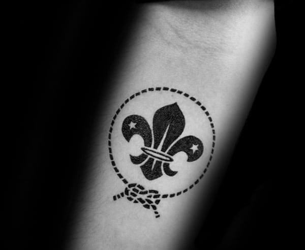 Black Ink With Rope Mens Fleur De Lis Inner Arm Tattoo