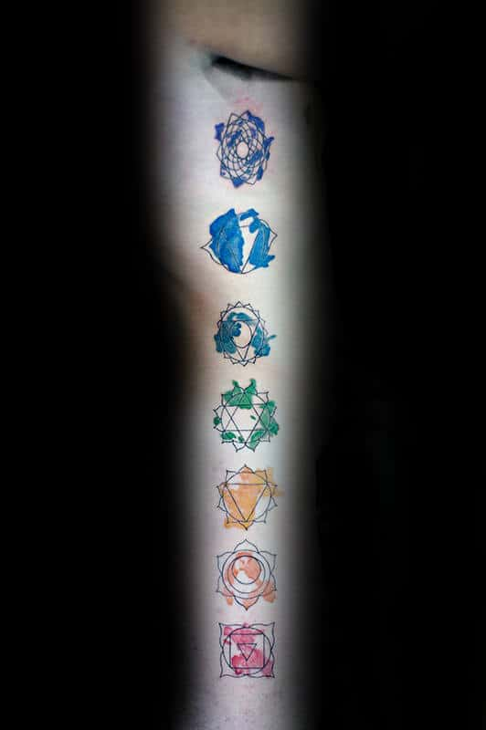 Black Ink With Watercolor Chakras Mens Arm Tattoos