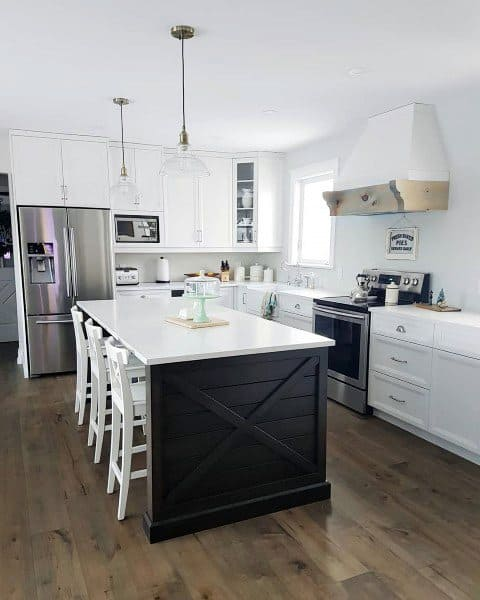 Black Island With White Cabinets Rustic Kitchen Ideas