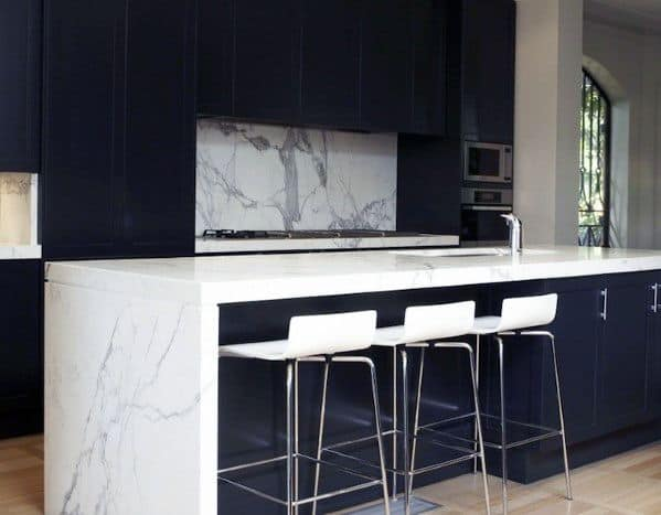 Black Kitchen Cabinet Design Idea Inspiration With Marble Countertops