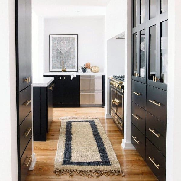 Black Kitchen Cabinet Design Ideas With Gold Hardware