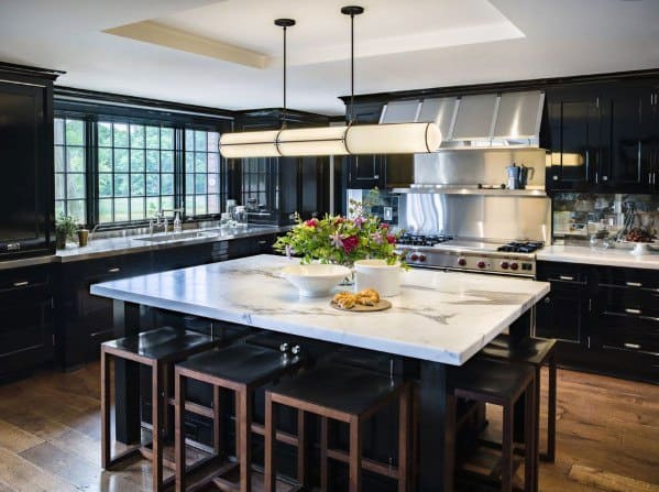 Black Kitchen Cabinet Ideas With Large Center Island