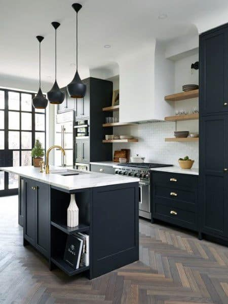 Black Kitchen Cabinet Spectacular Ideas With Chevron Pattern Hardwood Flooring