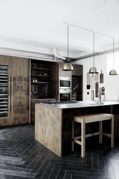 Black Kitchen Flooring Ideas Herringbone Tile