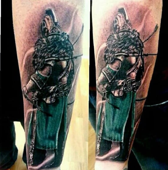 Black Knight Tattoo For Men With Green Kilt