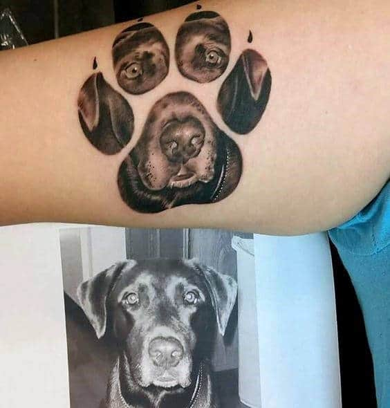 Black Lab Mens Dog Paw Inner Arm Tattoos