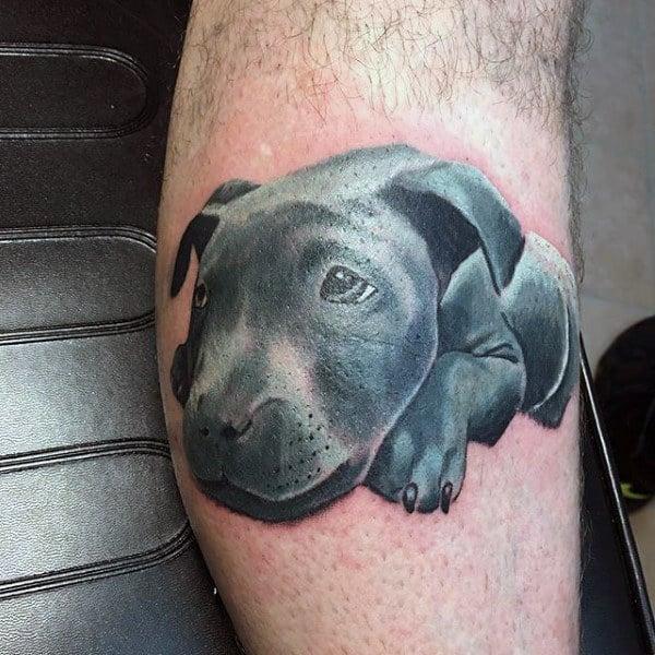 Black Lab Mens Dog Tattoo On Leg Calf