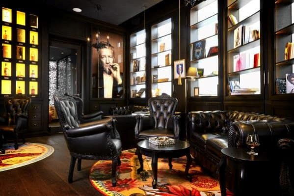 Black Leather Chairs Cool Man Cave Ideas