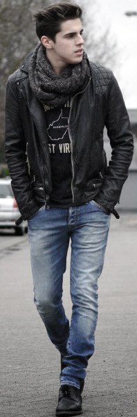 c929a582ac Black Leather Jacket With Jeans Cool Mens Fall Outfits Style Inspiration