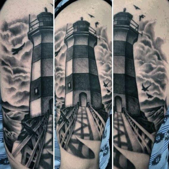Black Lighthouse Tattoo Art For Men On Arm