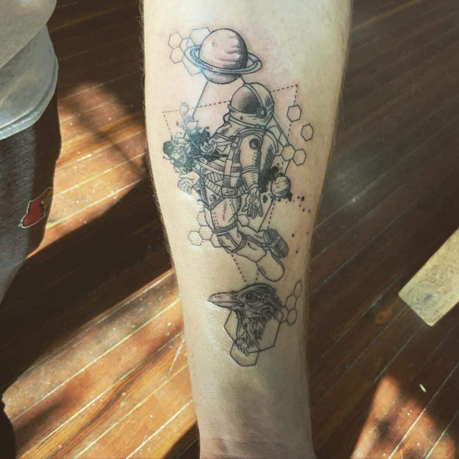 Black Line Astronaut Framing Planets And Emu With Hexagons And Lines Geometric Tattoo