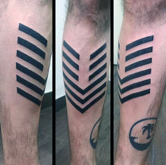 Black Lines Arrow Guys Shin Tattoos