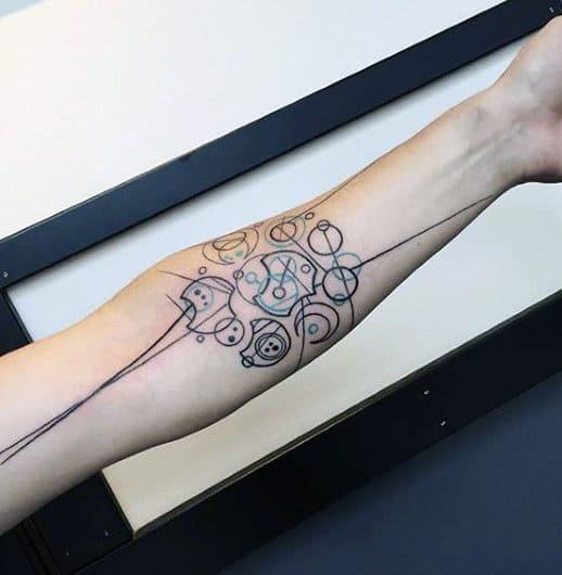 Black Lines Gallifreyan Male Full Arm Tattoo