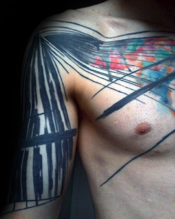Black Lines With Colorful Design Guys Artsy Chest And Arm Tattoo