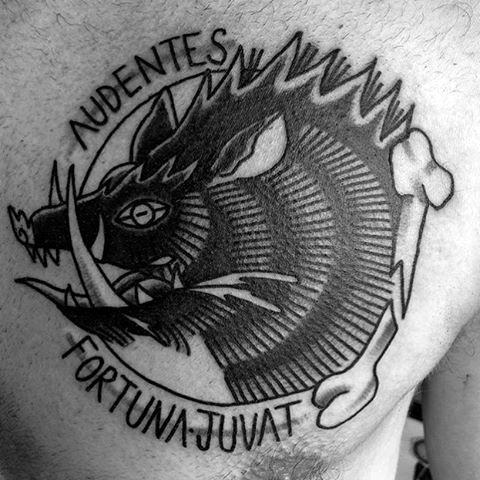 Black Linework Mens Family Crest Chest Tattoo