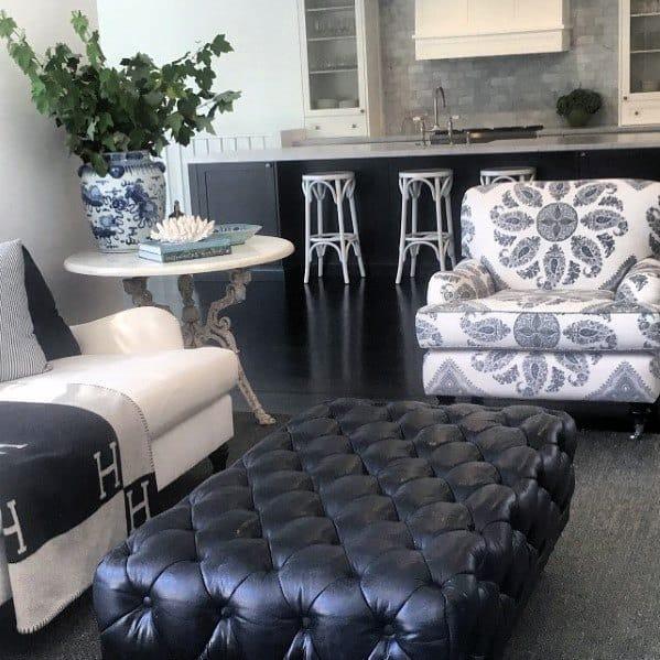 Black Living Room Kitchen Area Painted Floor Ideas
