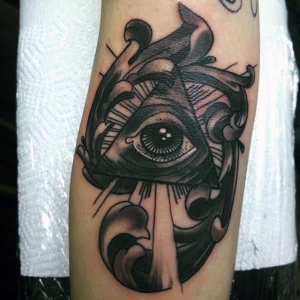 Black Male Forearms Illuminati Tattoo