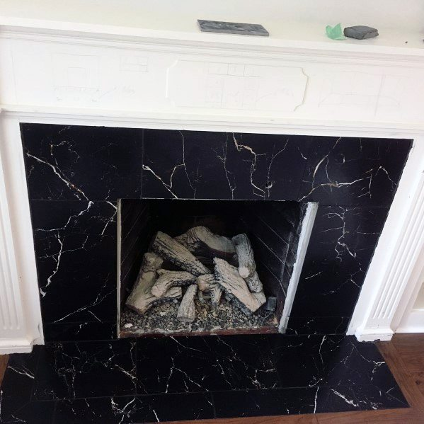 Black Marble Awesome Fireplace Tile Ideas