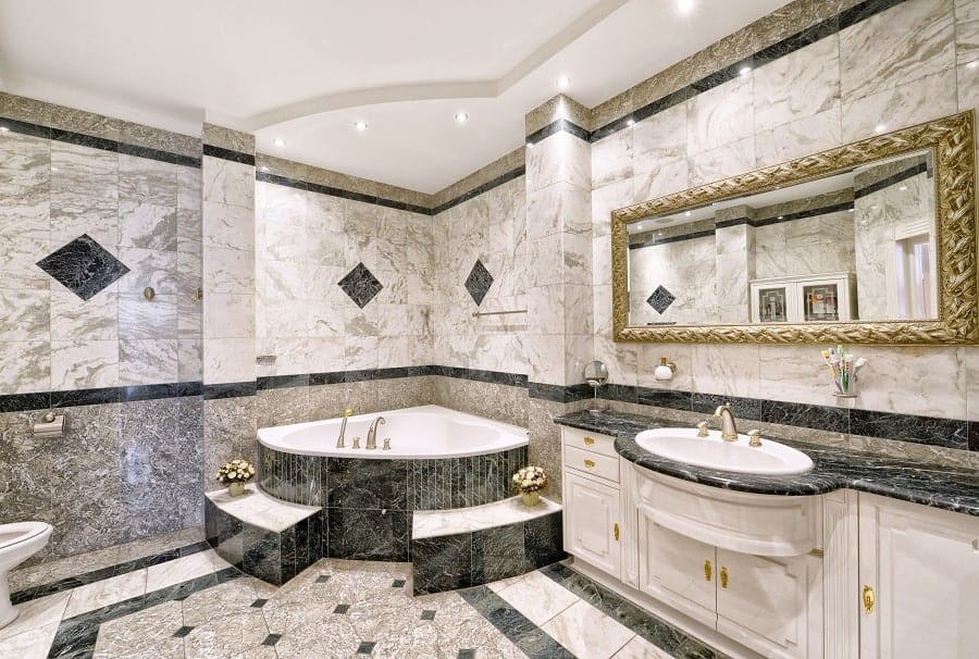 Black Marble Bathroom Vanity Ideas With Velvet Walls