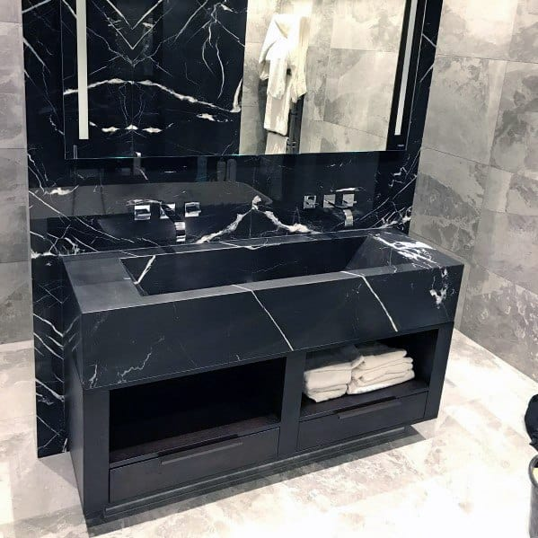 Black Marble Modern Bathroom Vanity Design Idea Inspiration