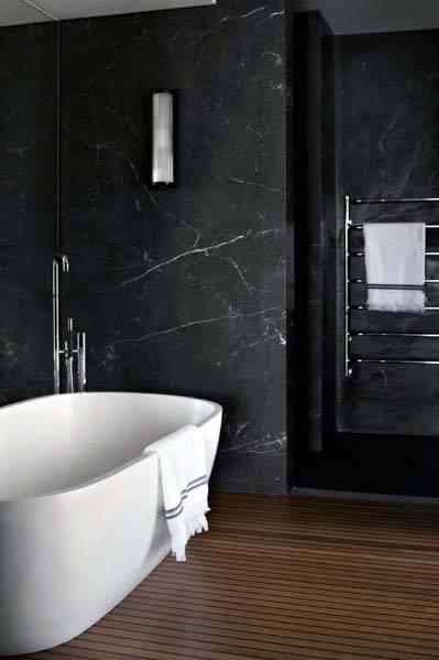 Top 60 best black bathroom ideas dark interior designs for Black and beige bathroom ideas