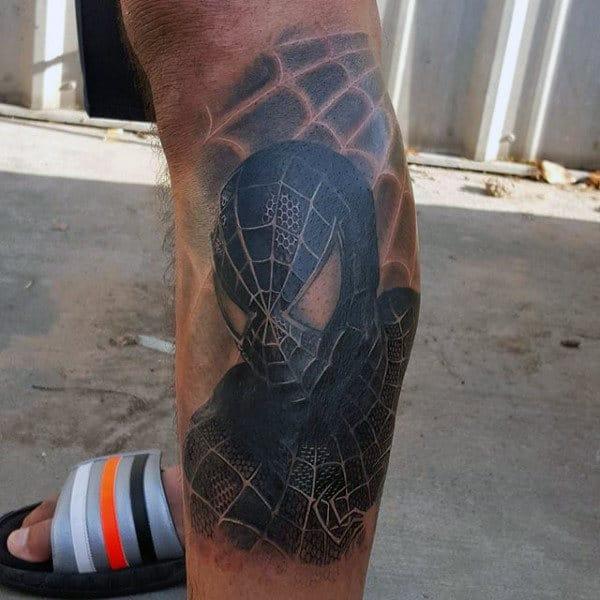 Black Masked Spiderman Tattoo Male Legs
