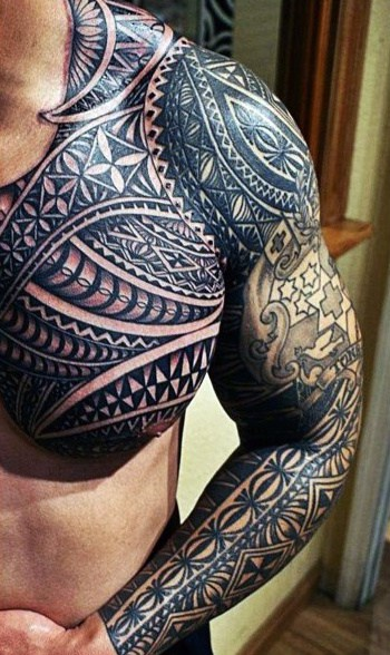 Black Men's Shoulder Tattoo