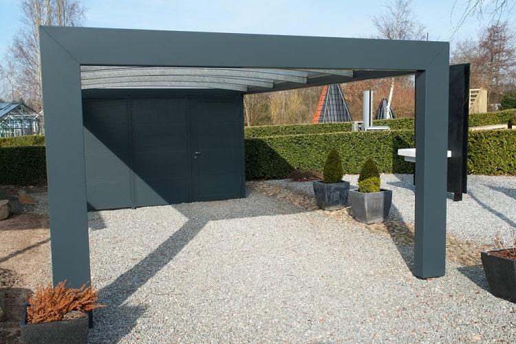 Black Metal And Glass Modern Carport