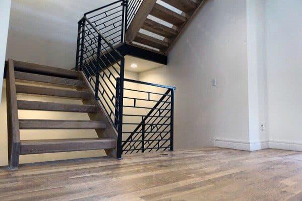 Black Metal Ornate Design Ideas For Stair Railing