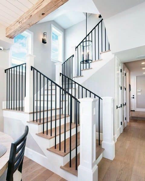 Black Metal With White Wood Beam Posts Home Design Ideas Stair Railing