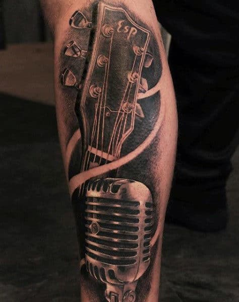 Black Microphone Guitarhead Tattoo For Men On Legs