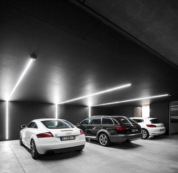 Black Modern Led Strip Lighting Garage Ceiling Ideas
