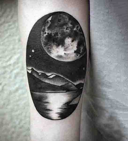 Black Moon And Mountains Mens Small Forearm Tattoo