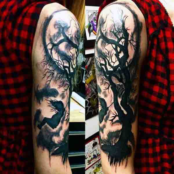 Black Moon Tattoos For Men With Tree Design