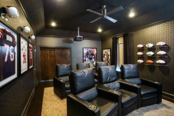 Black Movie Room Basement Ceiling Ideas
