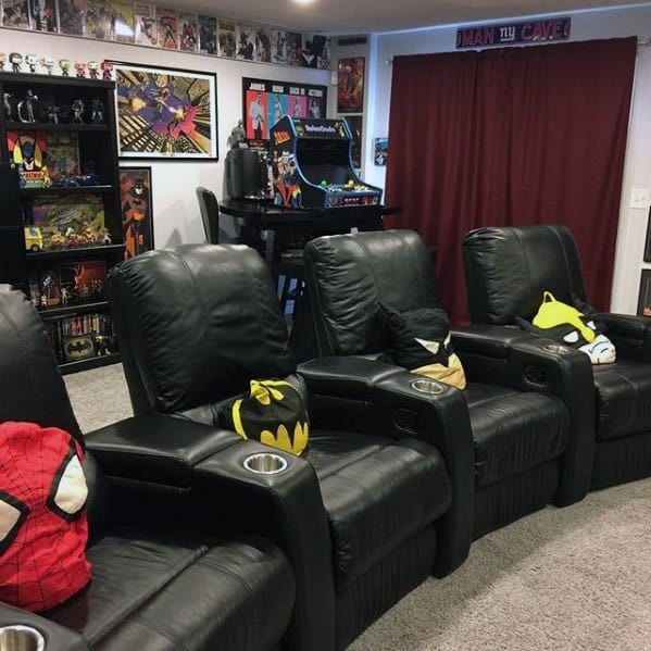 Black Movie Theatre Seating Gaming Man Cave
