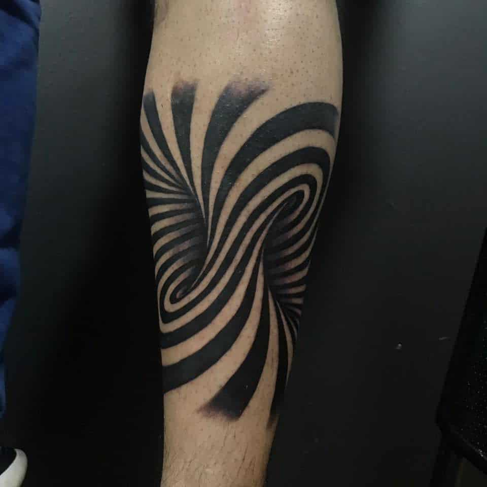 Black Negative Space Swirling Hole Effect Arm Abstract Tattoo