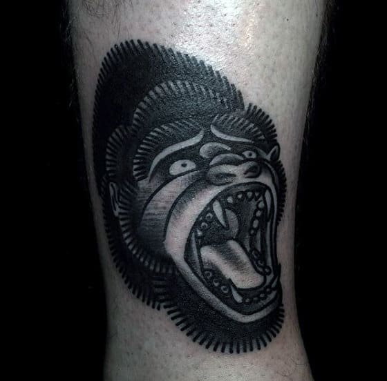 Black Old School Gorilla Male Tattoo Idea Inspiration