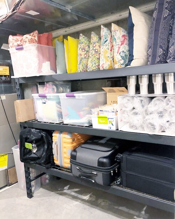 Black Open Shelf Basement Storage