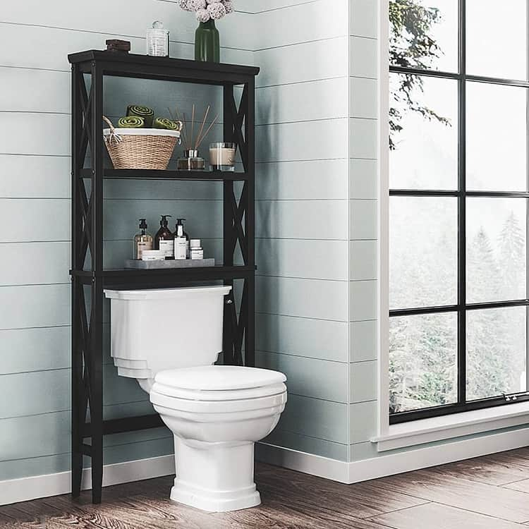 Black Open Toilet Shelves Riverridgehome